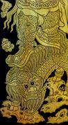 Ancient Thai gold leaf art - stock photo