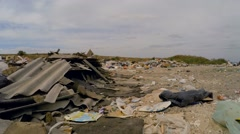 Broken Slates Among Garbage Dumped Into Heap At Landfill In Ukraine Stock Footage