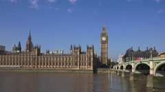 Houses of Parliament (in 4k) and Westminster Bridge, London, UK. Stock Footage