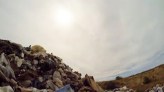Sun In Grey Sky Over Garbage Landfill In Ukraine Stock Footage