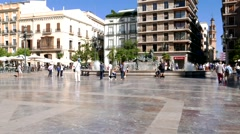 Plaza de Virgen Time Lapse in Valencia, Spain. Stock Footage