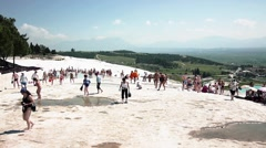 People In Travertine Pools With Water, Pamukkale - stock footage