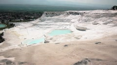 Travertines With Water In Pamukkale Stock Footage