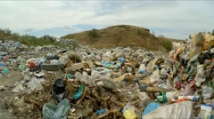 Huge Heap Of Domestic Garbage At Landfill In Ukraine Stock Footage