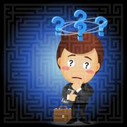 businessman solving the solution of labyrinth - stock illustration