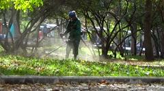 Gardener mows grass lawnmower Stock Footage