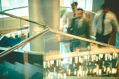 Railings in hall of business center - stock photo