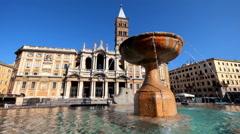 Fountain near Basilica di Santa Maria Maggiore in Rome Stock Footage