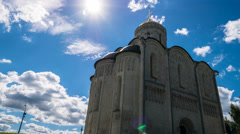 Cathedral of The Assumption, 12th Century, an monument of white-stone Stock Footage