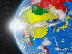 Stock Illustration of east Asia region from space