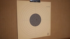 Bullet holes during gun target practice Stock Footage