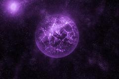 Image of crashing, exploding planet  in deep space, universe with star field Stock Illustration