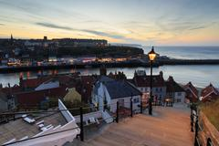 A Beautiful Sunset over whitby - stock photo