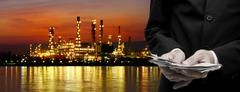 Make money from oil refinery business concept Stock Illustration