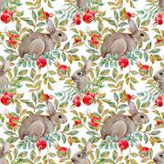 Autumn watercolor pattern - stock illustration