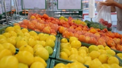 Woman Shopping for Fresh Vegetable at Supermarket Stock Footage