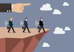 Businessmans walk straight into the abyss Stock Illustration