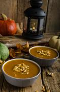 Halloween pumpkin soup - stock photo