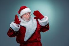 Stock Photo of Surprised Santa Claus
