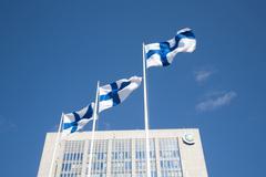 Espoo, Finland, Keilaniemi high-rise business district Stock Photos