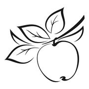 Apple with Leaves Black Pictogram Stock Illustration