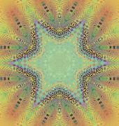 Seamless star pattern yellow brown turquoise Stock Illustration