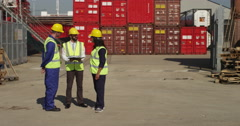Portrait of a female dock worker standing at the harbor. Stock Footage