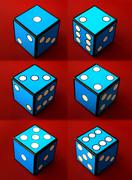 Six dices on red background - stock photo