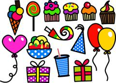 Kids Party Doodles - stock illustration