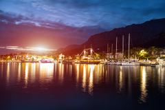 Makarska Riviera in Croatia at night - stock photo
