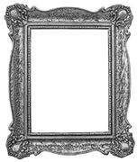 Old wooden silver plated frame - stock photo