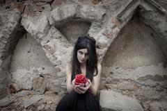 Halloween Mysterious Dressed Gothic Woman - stock photo