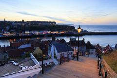 Sunset from the 199 steps at Whitby. - stock photo