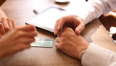 Businessman taking a plastic card Stock Footage