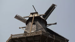 Old wooden windmill Stock Footage