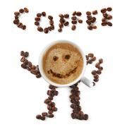 Coffee mascot of cup and beans Stock Photos