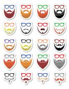 Beard and glasses, hipster icons set Stock Illustration