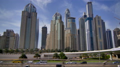 Dubai Marina Traveling 4K From Train Stock Footage