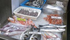 Fish for sale on ice. Amalfi, Amalfi Coast, Italy. Stock Footage