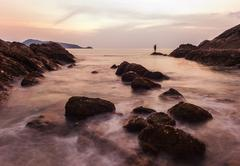 Seascape colorful with color of sunset in twilight Stock Photos