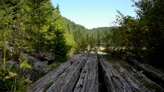 Abandoned old wooden dam 81 Stock Footage