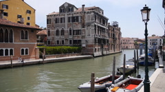 Venice, Italy water transportation passing by, in fast forward motion Stock Footage