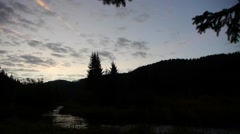 Early morning on the shore of a mountain river 00 Stock Footage