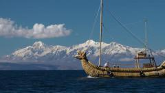 Traditional reed boat at the Titicaca lake Stock Footage