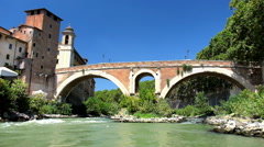 Bridge Pons Fabricius over Tiber River Stock Footage