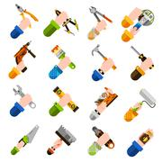 Diy Hands Icons - stock illustration