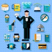 Restaurant Services Icons Set - stock illustration