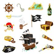 Pirate accessories flat icons set Stock Illustration