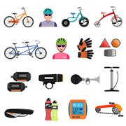 Bicycle Icons Flat Set Stock Illustration