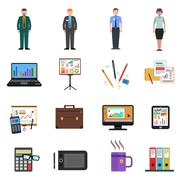 Office Icons Flat Set - stock illustration